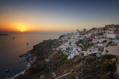 Sunrise at beautiful Oia village , Santorini Stock Photography