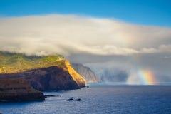 Sunrise and beautiful rainbow over Ponta de Sao Lourenco, Madeira Stock Photo