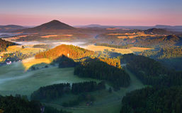 Sunrise in beautiful Saxony mountain Royalty Free Stock Photography