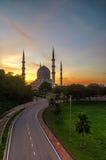 Sunrise at The beautiful Sultan Salahuddin Abdul Aziz Shah Mosque, Shah Alam. Royalty Free Stock Image