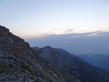 The sunrise. Beautiful sunrise taken from the summit of Mount Olympus, Greece Royalty Free Stock Photo