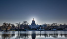 Sunrise behind the dome of the Capitol in DC Royalty Free Stock Image