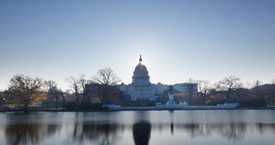 Sunrise behind the dome of the Capitol in DC Royalty Free Stock Photos