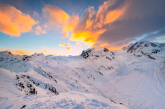 Sunrise behind Monte Rosa Royalty Free Stock Image