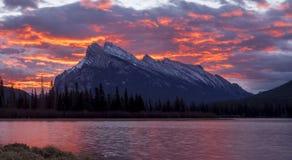 Sunrise behind Mount Rundle Stock Image
