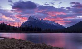 Sunrise behind Mount Rundle Stock Photos