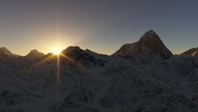 Sunrise behind snow covered alpine mountain peaks. 3D illustration Stock Photography