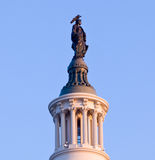 Sunrise behind the Statue of Freedom in DC Stock Image
