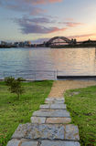 Sunrise behind Sydney Harbour Bridge from Balmain Stock Photos
