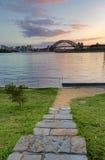 Sunrise behind Sydney Harbour Bridge from Balmain Stock Photos