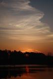 Sunrise behind wood. Royalty Free Stock Photos