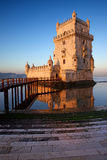 Sunrise at Belem Tower in Lisbon Stock Image