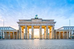 Sunrise at Berlin city with Brandenburg gate in Berlin, Germany royalty free stock image