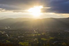 Sunrise in the Bidasoa-txingudi valley, Euskadi Royalty Free Stock Images