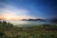 Sunrise in the the Bieszczady Stock Photography