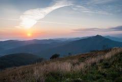 Sunrise in Bieszczady. Mountains, Poland Royalty Free Stock Image