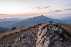 Sunrise in Bieszczady. Mountains, Poland Royalty Free Stock Photography