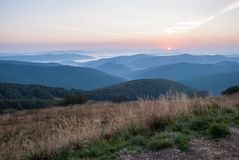Sunrise in Bieszczady Royalty Free Stock Photos