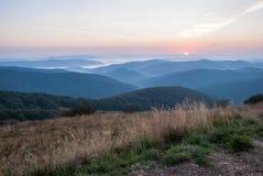Sunrise in Bieszczady. Mountains, Poland Royalty Free Stock Photos
