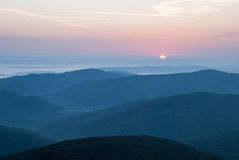 Sunrise in Bieszczady. Mountains, Poland Royalty Free Stock Images