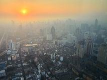 Sunrise in a big sity. Aerial view to Bangkok downtown on a sunrise. Thailand royalty free stock photos