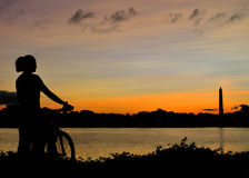 Sunrise bike ride in Washington DC Stock Photo
