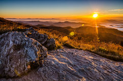 Sunrise, Black Balsam Blad, blue Ridge Parkway. A beautiful autumn sunrise from atop of Black Balsam Knob along the Blue Ridge Parkway in North Carolina. Warm Royalty Free Stock Photography