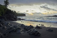 Sunrise at Black Sand Beach in Maui Hawaii royalty free stock images