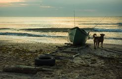 Sunrise on the Black sea coast ,Romania. Sunrise on the Black sea coast at Tuzla beach, Romania stock image