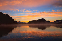 Sunrise on the Bled Lake Stock Photography