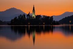Sunrise on Bled Lake with Pilgrimage Church, Bled, Slovenia, Europe. royalty free stock image
