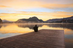 Sunrise on the Bled Lake. In Slovenia Royalty Free Stock Photos