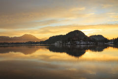 Sunrise on the Bled Lake. In Slovenia Stock Photography