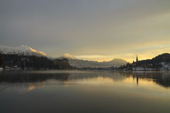 Sunrise on the Bled Lake. In Slovenia Stock Photos