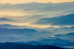 Sunrise on the Blue Ridge Mountains in Smoky Mountain National Park. royalty free stock photography