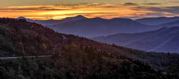 Sunrise On the Blue Ridge Parkway. Sunrise from the Water Rock Knob overlook on the Blue Ridge Parkway. Found at mile post 451.2 this overlook provides an almost royalty free stock photos