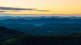 Sunrise on the Blue Ridge Parkway. Thunder Hill Overlook Stock Photos