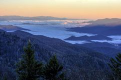 Sunrise On the Blue Ridge Parkway. Sunrise from the Water Rock Knob overlook on the Blue Ridge Parkway. Found at mile post 451.2 this overlook provides an almost stock images