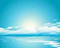 Sunrise Blue Sky And Clouds. Blue sky with clouds background design Stock Photos