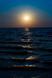 Sunrise on blue sky and dark sea in the morning dawn. Scenery concept for yoka spirit, backdrop,wallpaper,background royalty free stock photos