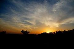 The sunrise on the blue sky. In indonesia Royalty Free Stock Image