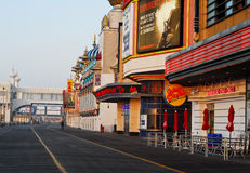 Sunrise on the boardwalk in Atlantic City, NJ Royalty Free Stock Image