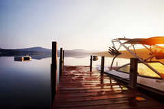 Sunrise boat dock Stock Photo