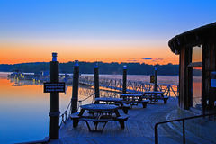 Sunrise at the Boat Dock Stock Image