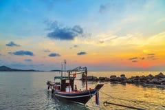 Sunrise boat fishing Royalty Free Stock Photos