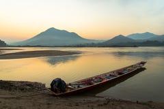 Sunrise boat Mekong River Royalty Free Stock Photos