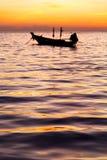 Sunrise boat  and sea in  china sea Stock Photo