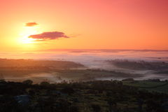 Sunrise bodmin moor. View from sharps on bodmin moor tor towards dartmoor at sunrise Royalty Free Stock Photo