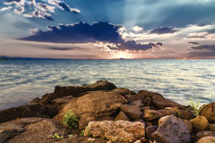Sunrise at Bolsena Lake (Italy) Stock Images