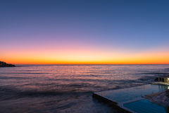 Sunrise on the Bondi Beach Sydney NSW Australia. Bondi Beach is a popular beach and the name of the surrounding suburb in Sydney, New South Wales, Australia Royalty Free Stock Images